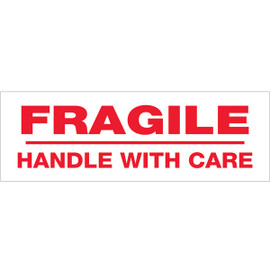 Tape Logic Pre-Printed Packing Tape White - Fragile Handle with Care 3 inch x 110 yard Roll (24 Roll/Pack)