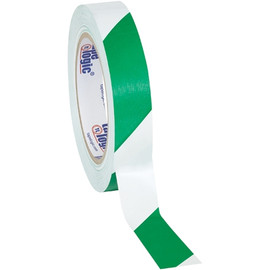 Tape Logic Green/White Striped Vinyl Safety Tape 1 inch x 36 yard Roll (48 Roll/Pack)