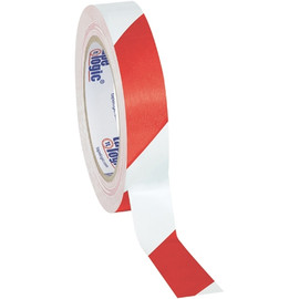 Tape Logic Red/White Striped Vinyl Safety Tape 1 inch x 36 yard Roll (48 Roll/Pack)