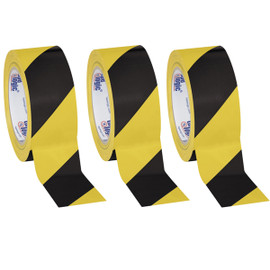 Tape Logic Black/Yellow Striped Vinyl Safety Tape 2 inch x 36 yard Roll (3 Roll/Pack)