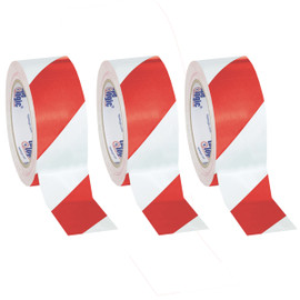 Tape Logic White/Red Striped Vinyl Safety Tape 2 inch x 36 yard Roll (3 Roll/Pack)
