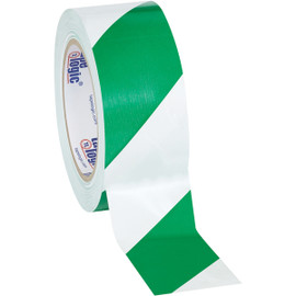 Tape Logic Green/White Striped Vinyl Safety Tape 2 inch x 36 yard Roll (24 Roll/Pack)