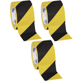 Tape Logic Black/Yellow Striped Vinyl Safety Tape 3 inch x 36 yard Roll (3 Roll/Pack)