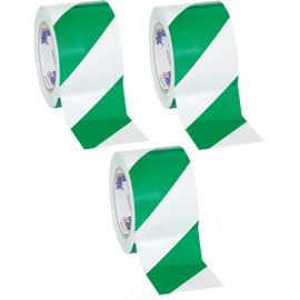 Tape Logic Green/White Striped Vinyl Safety Tape 3 inch x 36 yard Roll (3 Roll/Pack)