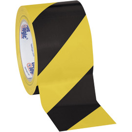 Tape Logic Black/Yellow Striped Vinyl Safety Tape 3 inch x 36 yard Roll (16 Roll/Pack)