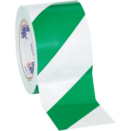 Tape Logic Green/White Striped Vinyl Safety Tape 3 inch x 36 yard Roll (16 Roll/Pack)