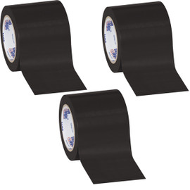 Tape Logic Black Solid Vinyl Safety Tape 4 inch x 36 yard Roll (3 Pack)
