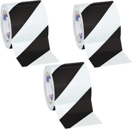 Tape Logic Black/White Striped Vinyl Safety Tape 4 inch x 36 yard Roll (3 Roll/Pack)