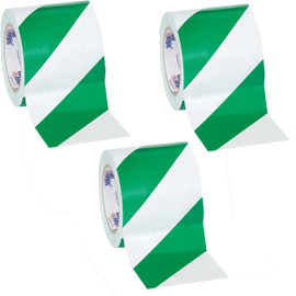 Tape Logic Green/White Striped Vinyl Safety Tape 4 inch x 36 yard Roll (3 Roll/Pack)