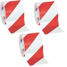 Tape Logic Red/White Striped Vinyl Safety Tape 4 inch x 36 yard Roll (3 Roll/Pack)
