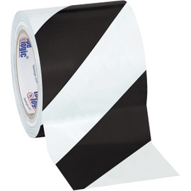 Tape Logic Black/White Striped Vinyl Safety Tape 4 inch x 36 yard Roll (12 Roll/Pack)