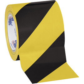 Tape Logic Black/Yellow Striped Vinyl Safety Tape 4 inch x 36 yard Roll (12 Roll/Pack)