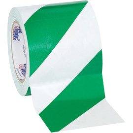 Tape Logic Green/White Striped Vinyl Safety Tape 4 inch x 36 yard Roll (12 Roll/Pack)