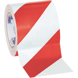 Tape Logic Red/White Striped Vinyl Safety Tape 4 inch x 36 yard Roll (12 Roll/Pack)