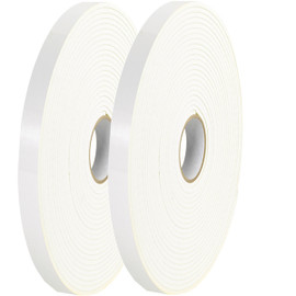 Tape Logic Double Sided Foam Tape 1/2 inch x 36 yard (1/16 inch Thick White) (2 Pack)