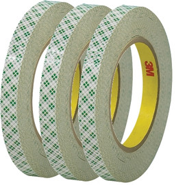 3M 410M Double Sided Masking Tape 1/2 inch x 36 yard Roll (3 Pack)