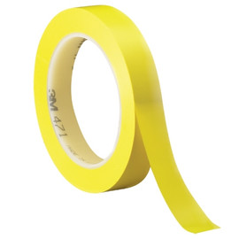 3M Vinyl Tape 471 Yellow 1/2 inch x 36 yard Roll (72 Roll/Pack)