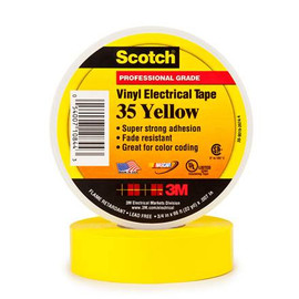 3M 35 Electrical Tape Yellow 3/4 inch x 66 ft Roll (10 Pack)