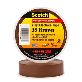 3M 35 Electrical Tape Brown 3/4 inch x 66 ft Roll (100 Roll/Pack)