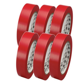 3M General Purpose Vinyl Tape 764 Red 1 inch x 36 yard Roll (6 Pack)