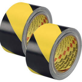 3M Hazard Warning Tape 5702 Yellow/Black 3 inch x 36 yard Roll (2 Pack)