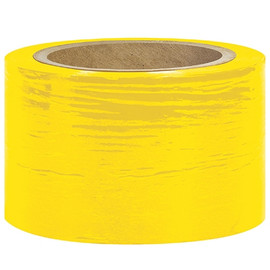 Bundling Stretch Film Yellow 3 inch x 80 Gauge x 1000 ft Roll (18 Roll/Pack)