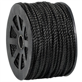 Twisted Polypropylene Rope Black 1/4 inch x 600 ft Spool