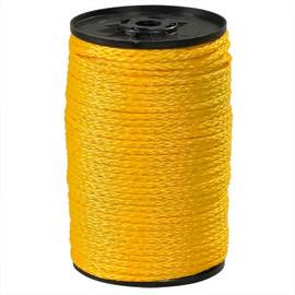 Hollow Braided Polypropylene Rope Yellow 1/4 inch x 1000 ft Spool