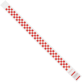 Tyvek® Wristbands Checkerboard Red 3/4 inch x 10 inch (500 Per/Pack)