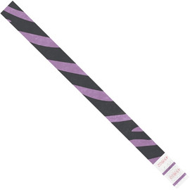 Tyvek® Wristbands Zebra Stripe Purple 3/4 inch x 10 inch (500 Per/Pack)