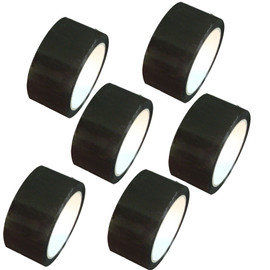 "Black Carton Sealing Tape 2"" x 110 yard Roll 2.0 mil (6 Pack)"