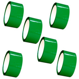 "Green Carton Sealing Tape 2"" x 110 yard Roll 2.0 mil (6 Pack)"