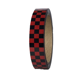 """Laminated Checkerboard Outdoor Vinyl Tape 3/4"""" x 18 yard Roll Red / Black"""