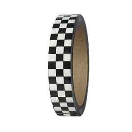 """Laminated Checkerboard Outdoor Vinyl Tape 3/4"""" x 18 yard Roll White / Black (24 Roll / Case)"""