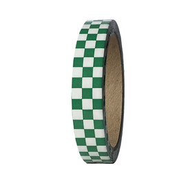 """Laminated Checkerboard Outdoor Vinyl Tape 3/4"""" x 18 yard Roll Green / White (24 Roll / Case)"""
