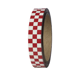 """Laminated Checkerboard Outdoor Vinyl Tape 3/4"""" x 18 yard Roll Red / White"""