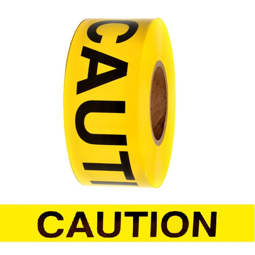 Barricade Tape - Caution - Yellow 3 inch x 1000 ft Non Adhesive 3 mil (8 Roll/Pack)