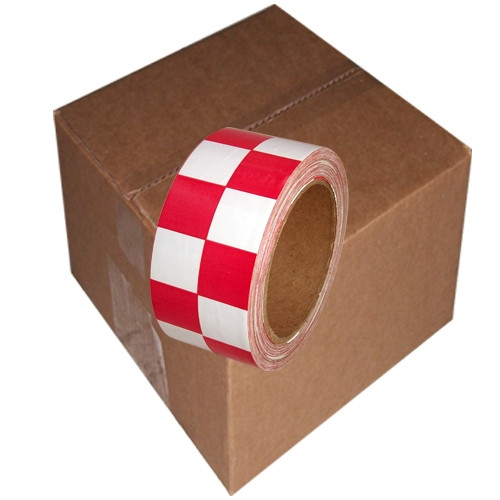 Checkerboard Vinyl Tape 2 inch x 36 yard Roll Red / White (24 Roll/Pack)