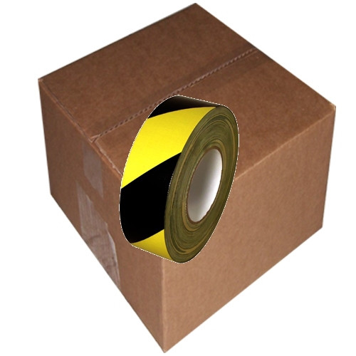 Black & Yellow Hazard Striped Duct Tape 2 inch x 60 yards (24 roll Pack)