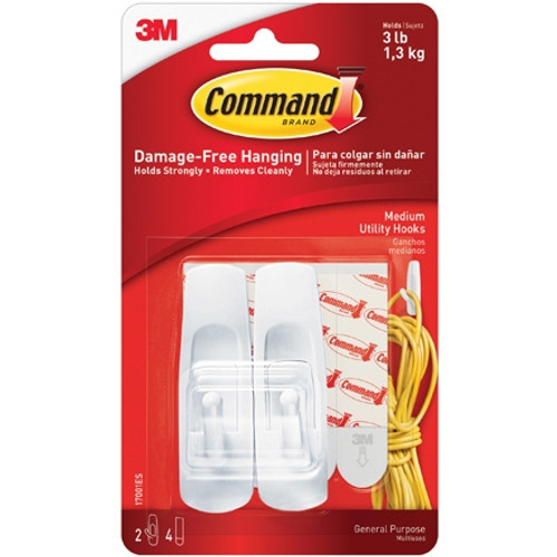 3M 17001 Command Hooks and Strips - Medium (6 Pack)