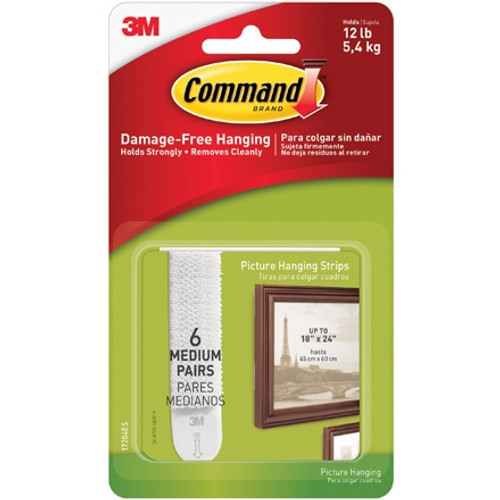 3M 17204 Command Picture Hanging Strips - Medium (6 Sets)