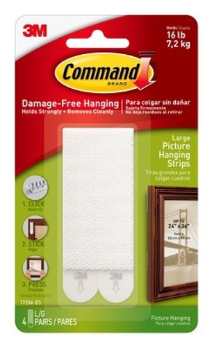 3M 17206 Command Picture Hanging Strips - Large (4 Sets)