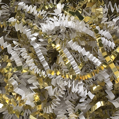 Crinkle Paper White and Gold Metallic Blend 10 lb Box