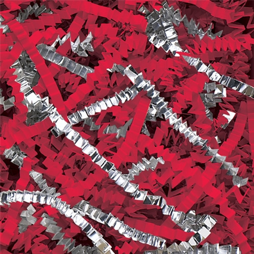 Crinkle Paper Red and Silver Metallic Blend 10 lb Box