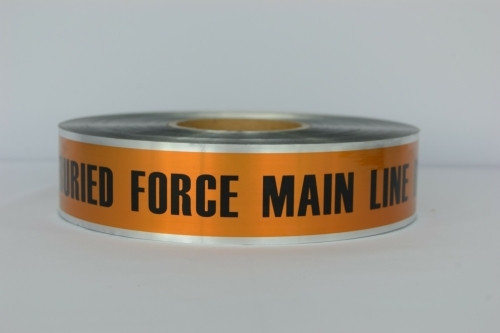 Detectable Underground Tape - Caution Buried Force Main Line Below - Brown- 2 inch x 1000 ft Roll (12 Roll/Pack)