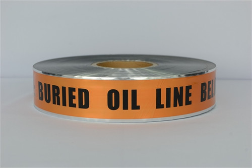 Detectable Underground Tape - Caution Buried Oil Line Below - 2 inch x 1000 ft Roll (12 Roll/Pack)