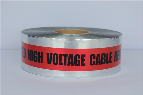 Detectable Underground Tape - Caution Buried High Voltage Cable Below - 3 inch x 1000 ft Roll (8 Roll/Pack)