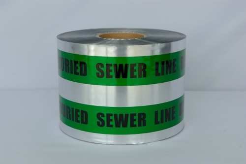 Detectable Underground Tape - Caution Buried Sewer Line Below - 6 inch x 1000 ft Roll (4 Roll/Pack)
