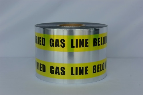 Detectable Underground Tape - Caution Buried Gas Line Below - 6 inch x 1000 ft Roll (4 Roll/Pack)