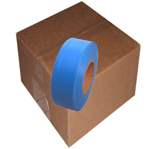 Fluorescent Blue Flagging Tape 1 3/16 inch x 150 ft Roll Non-Adhesive (12 Roll/Pack)